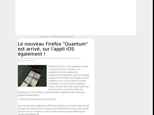 """Le nouveau Firefox """"Quantum"""" est arrivé, sur l'appli iOS également !"""