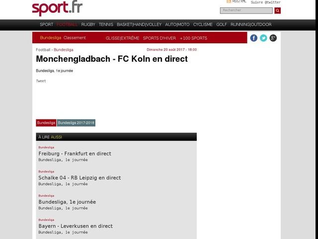 Monchengladbach - FC Koln en direct