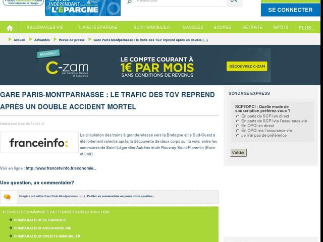 Gare Paris-Montparnasse : le trafic des TGV reprend après un double accident mortel