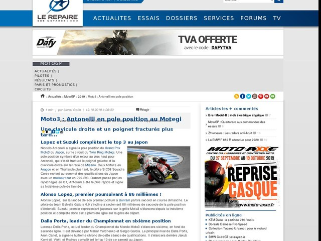 Moto3 : Antonelli en pole position