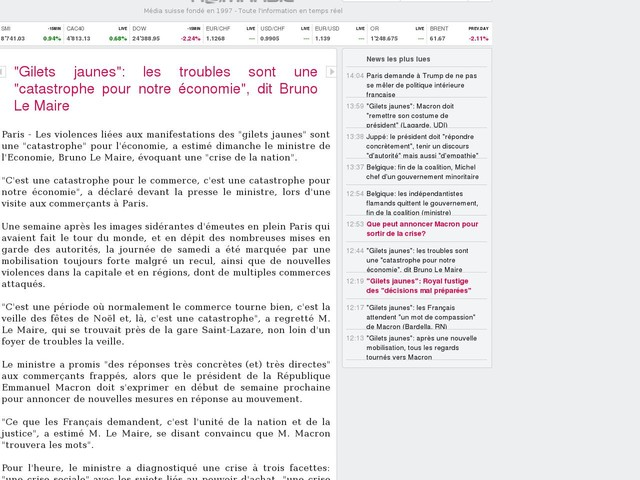 """""""Gilets jaunes"""": les troubles sont une """"catastrophe pour notre économie"""", dit Bruno Le Maire"""
