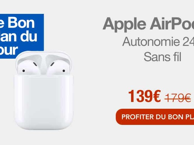 Bon plan : Apple AirPods 2 à 139 au lieu de 179€