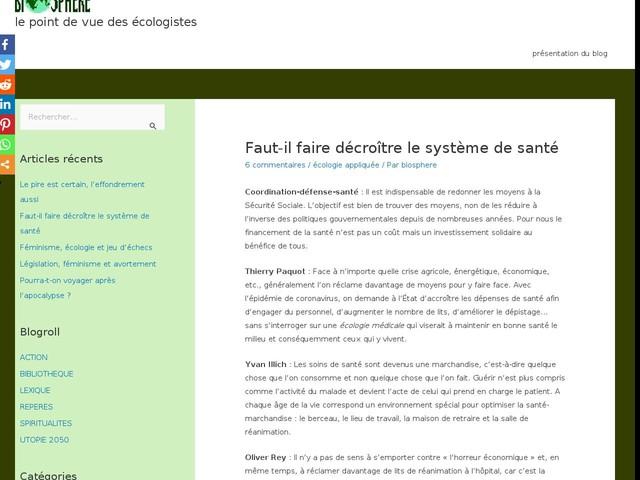 Commentaires sur Faut-il faire décroître le système de santé par Didier BARTHES