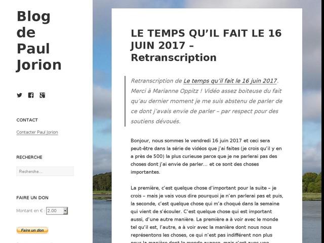 LE TEMPS QU'IL FAIT LE 16 JUIN 2017 – Retranscription