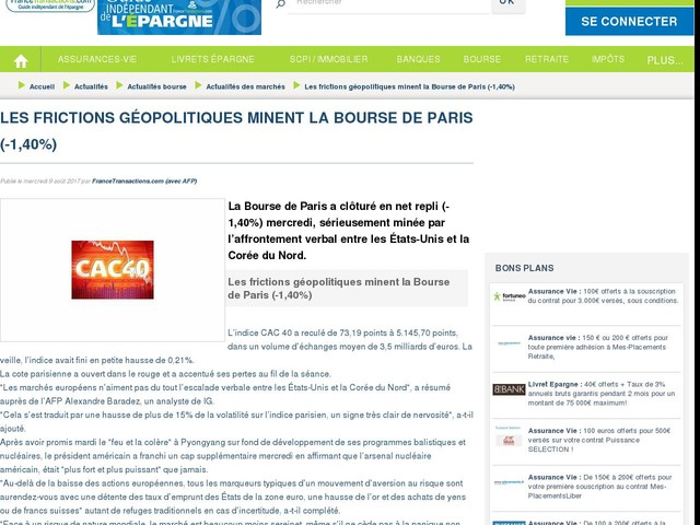 Les frictions géopolitiques minent la Bourse de Paris (-1,40%)