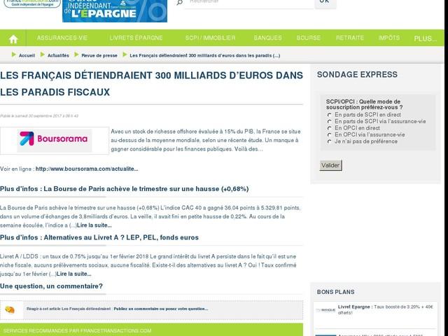 Les Français détiendraient 300 milliards d'euros dans les paradis fiscaux