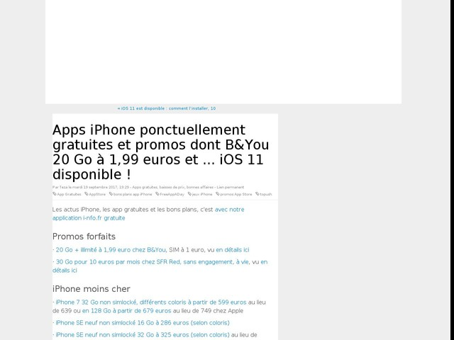 Apps iPhone ponctuellement gratuites et promos dont B&You 20 Go à 1,99 euros et ... iOS 11 disponible !