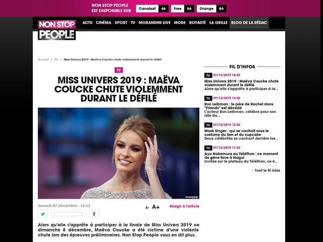 Miss Univers 2019 : Maëva Coucke chute violemment durant le défilé