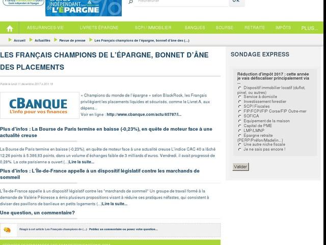 Les Français champions de l'épargne, bonnet d'âne des placements