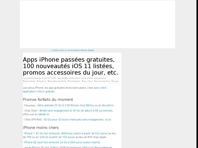 Apps iPhone passées gratuites, 100 nouveautés iOS 11 listées, promos accessoires du jour, etc.
