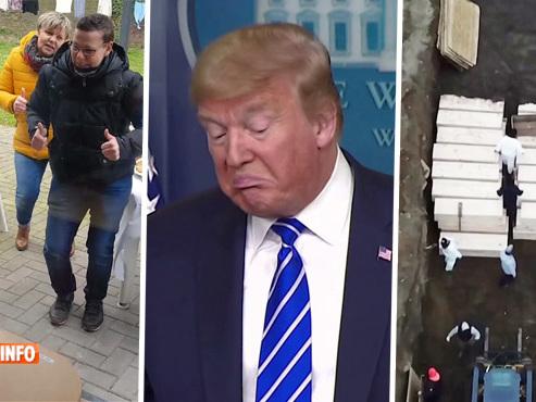 Avril 2020: anniversaire à travers une vitre à Courcelles, Trump veut injecter du désinfectant, New York creuse des fosses communes