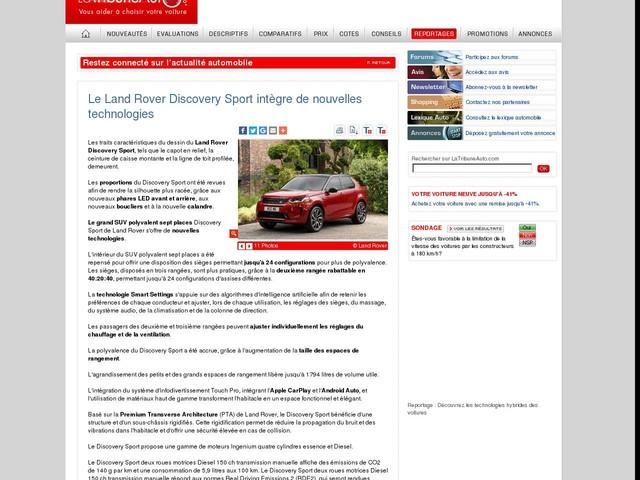 Le Land Rover Discovery Sport intègre de nouvelles technologies
