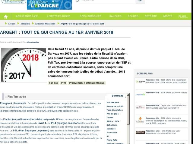 Argent : tout ce qui change au 1er janvier 2018