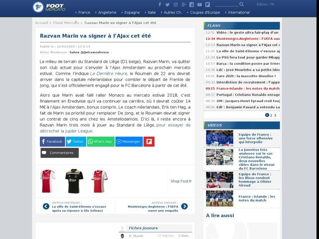 Razvan Marin va signer à l'Ajax cet été
