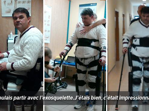 """Gaël, paraplégique, remarche grâce à un exosquelette: """"J'avais des flammes dans les yeux, c'était génial!"""""""