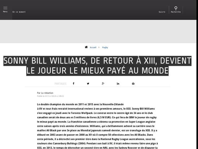 Rugby - Sonny Bill Williams, de retour à XIII, devient le joueur le mieux payé au monde