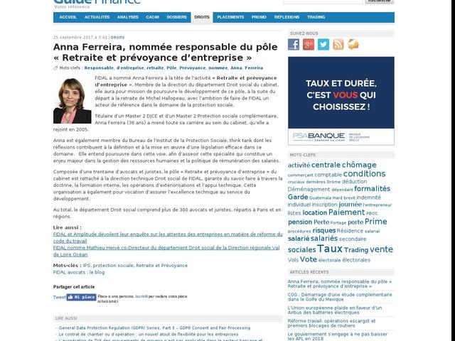 Anna Ferreira, nommée responsable du pôle « Retraite et prévoyance d'entreprise »