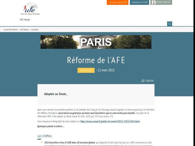 Réforme de l'AFE