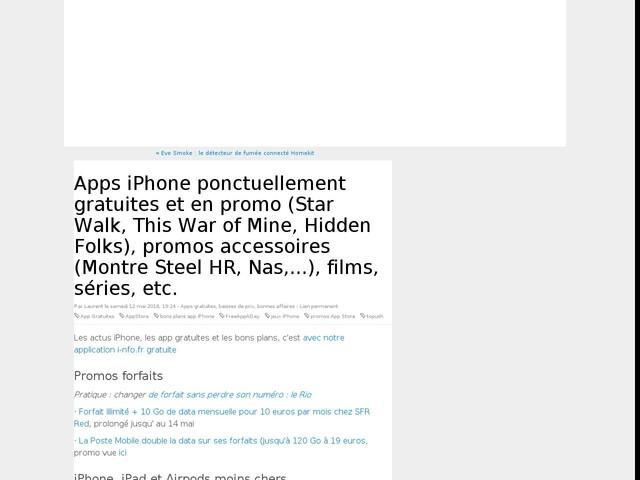 Apps iPhone ponctuellement gratuites et en promo (Star Walk, This War of Mine, Hidden Folks), promos accessoires (Montre Steel HR, Nas,...), films, séries, etc.
