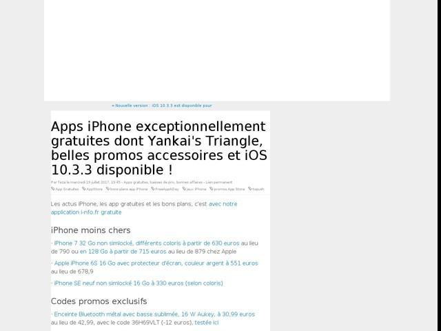 Apps iPhone exceptionnellement gratuites dont Yankai's Triangle, belles promos accessoires et iOS 10.3.3 disponible !