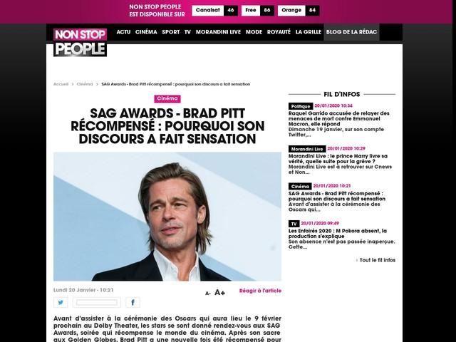 SAG Awards - Brad Pitt récompensé : pourquoi son discours a fait sensation