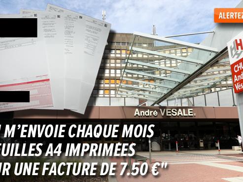 """L'hôpital André Vésale consomme 1,9 million de feuilles par an rien que pour les factures: """"Comment l'expliquer?"""""""