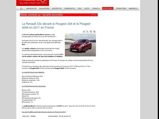 La Renault Clio devant la Peugeot 208 et le Peugeot 3008 en 2017 en France