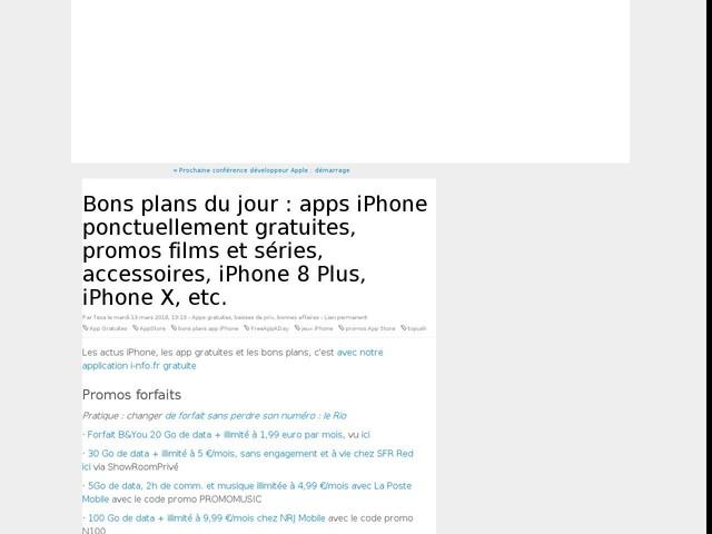 Bons plans du jour : apps iPhone ponctuellement gratuites, promos films et séries, accessoires, iPhone 8 Plus, iPhone X, etc.