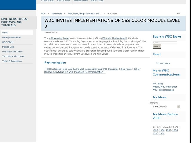 W3C Invites Implementations of CSS Color Module Level 3