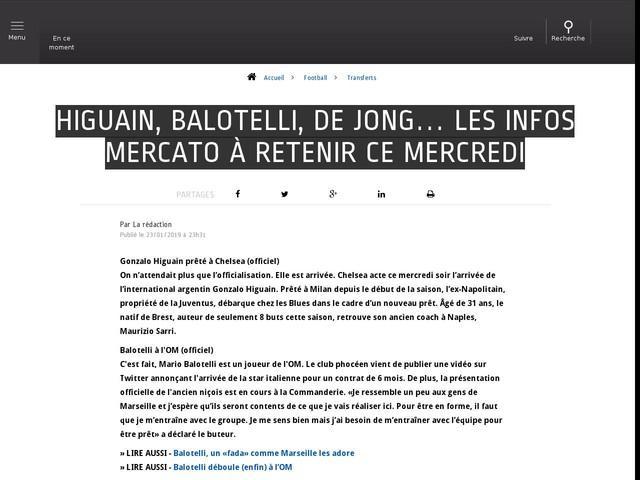 Football - Transferts - Higuain, Balotelli, De Jong… Les infos mercato à retenir ce mercredi