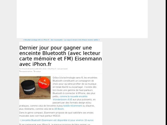 Dernier jour pour gagner une enceinte Bluetooth (avec lecteur carte mémoire et FM) Eisenmann avec iPhon.fr