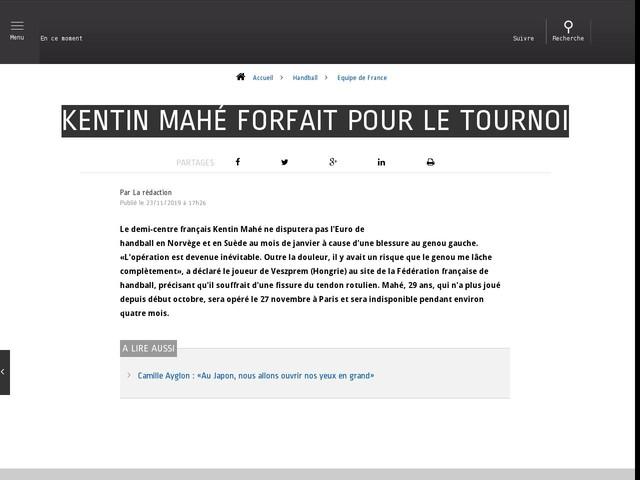 Handball - Equipe de France - Kentin Mahé forfait pour le tournoi