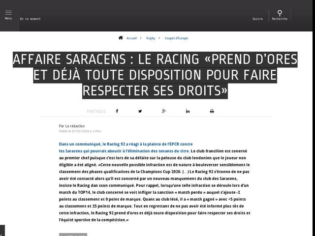 Rugby - Coupes d'Europe - Affaire Saracens : le Racing «prend d'ores et déjà toute disposition pour faire respecter ses droits»