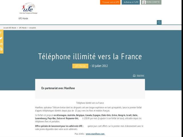 Téléphone illimité vers la France