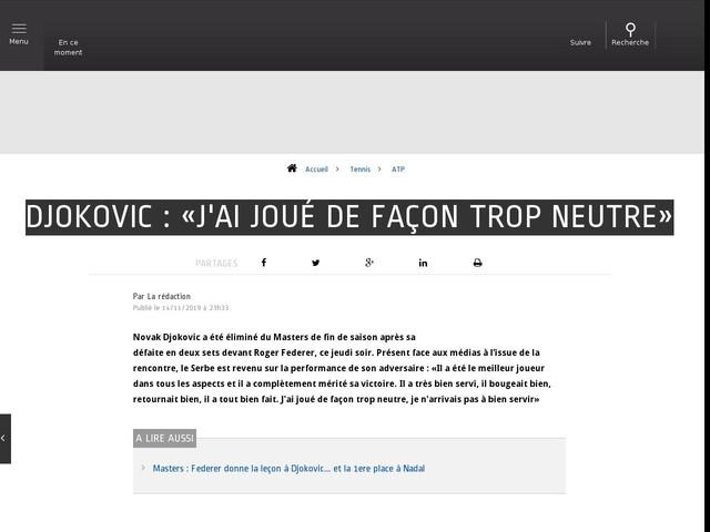 Tennis - ATP - Djokovic : «J'ai joué de façon trop neutre»