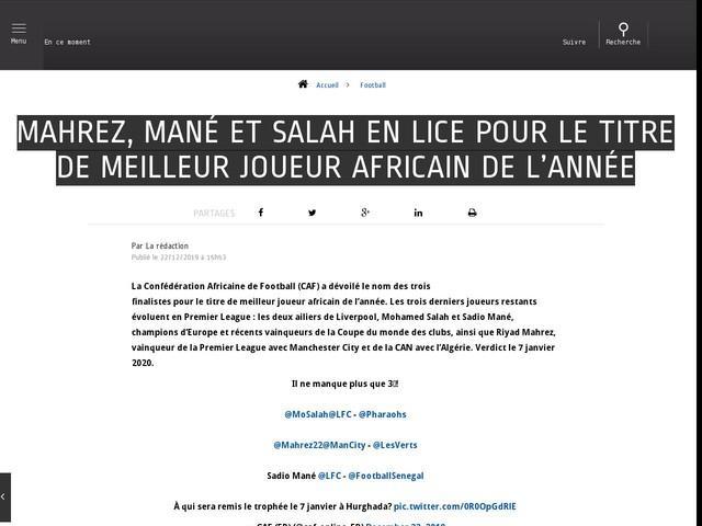 Football - Mahrez, Mané et Salah en lice pour le titre de meilleur joueur africain de l'année