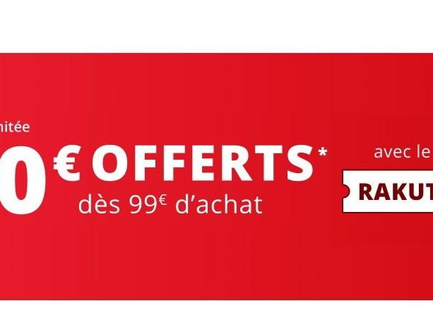 Réduction de 20€ dès 99€ d'achat sur tout RAKUTEN, disque externe 4TO à 79€95