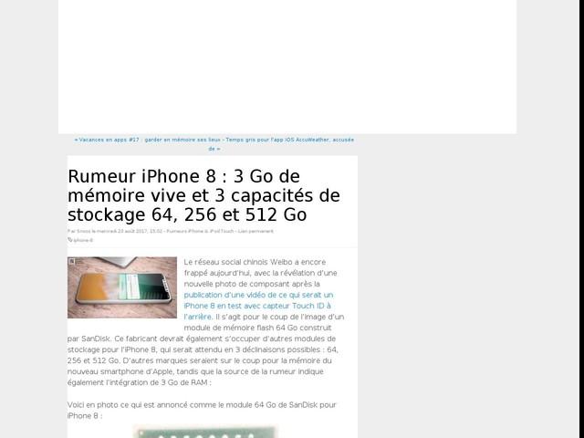 Rumeur iPhone 8 : 3 Go de mémoire vive et 3 capacités de stockage 64, 256 et 512 Go