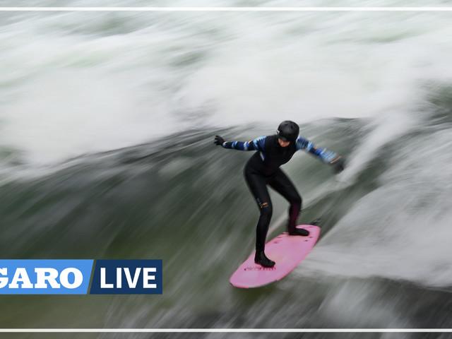 Dans le froid et la neige, les surfeurs munichois domptent leur vague