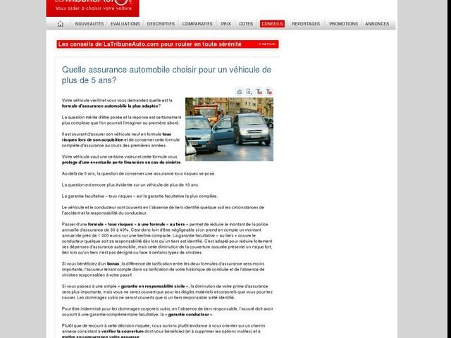 Quelle assurance automobile choisir pour un véhicule de plus de 5 ans?