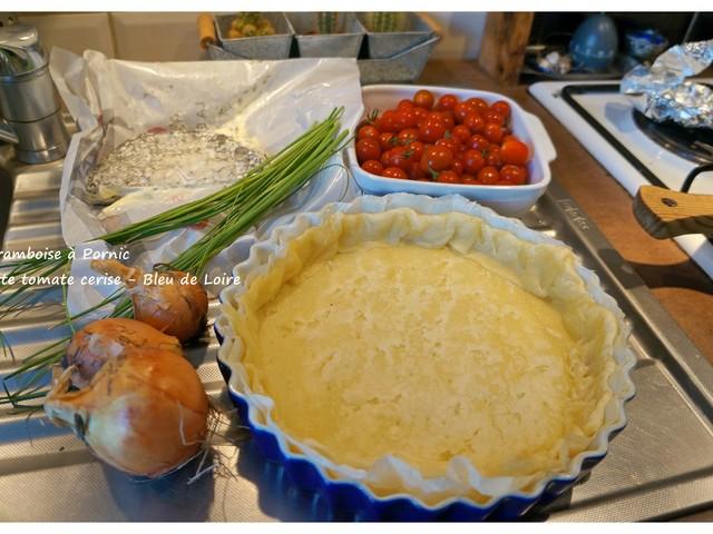 Tarte tomates cerises et bleu de Loire