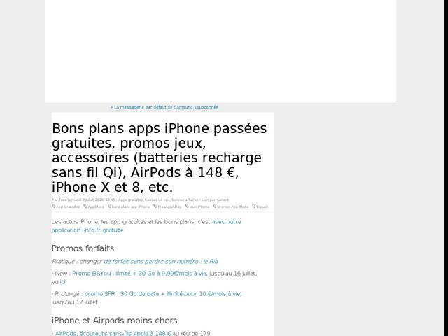 Bons plans apps iPhone passées gratuites, promos jeux, accessoires (batteries recharge sans fil Qi), AirPods à 148 €, iPhone X et 8, etc.