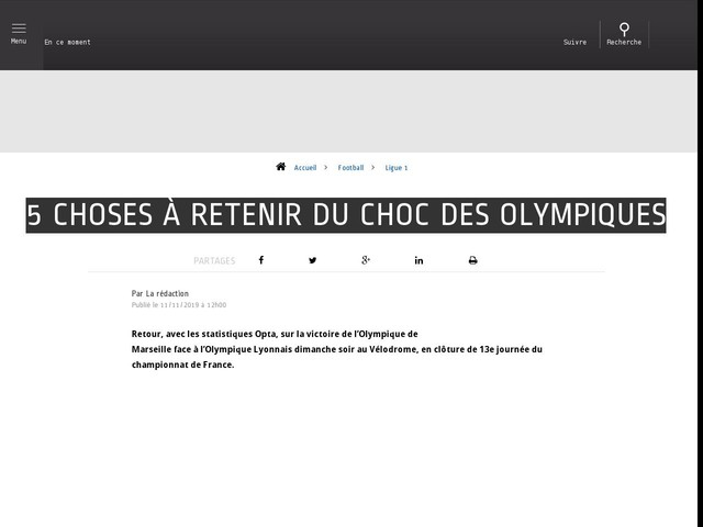 Football - Ligue 1 - 5 choses à retenir du choc des Olympiques