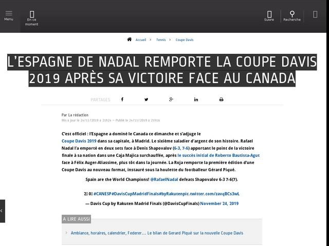 Tennis - Coupe Davis - L'Espagne de Nadal remporte la Coupe Davis 2019 après sa victoire face au Canada