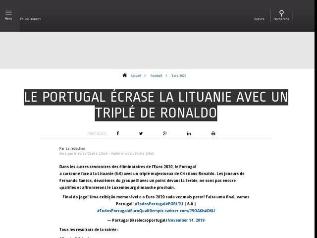 Football - Euro 2020 - Le Portugal écrase la Lituanie avec un triplé de Ronaldo