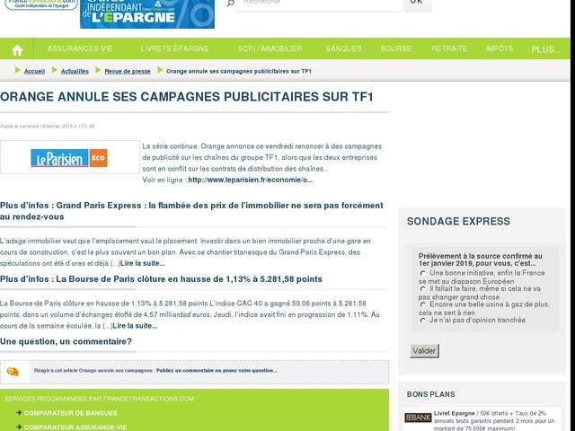 Orange annule ses campagnes publicitaires sur TF1
