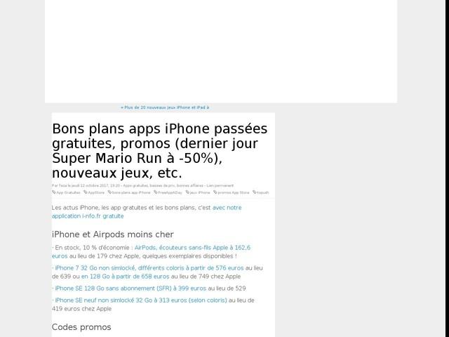 Bons plans apps iPhone passées gratuites, promos (dernier jour Super Mario Run à -50%), nouveaux jeux, etc.
