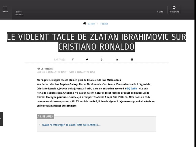 Football - Le violent tacle de Zlatan Ibrahimovic sur Cristiano Ronaldo