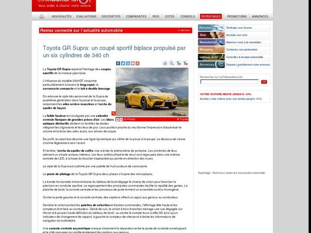 Toyota GR Supra: un coupé sportif biplace propulsé par un six cylindres de 340 ch