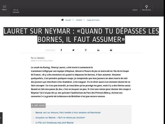 Football - Coupe de France - Lauret sur Neymar : «Quand tu dépasses les bornes, il faut assumer»
